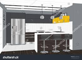 kitchen design sketch 3d illustration modern creative kitchen design stock illustration