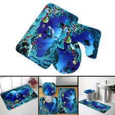 3pcs blue ocean bath rugs set velvet fabric pedestal mat toilet