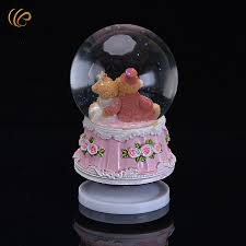 music decorations for home snow crystal wedding bear inside music box desk decoration for