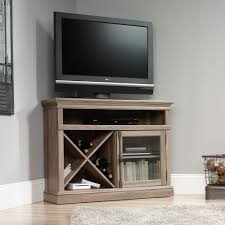 Corner Tv Cabinets For Flat Screens With Doors Wooden Corner Tv Stand With Single Glass Cabinet Door And Lattice