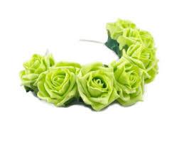 Lime Green Flowers - gold metallic flower headband boho flower crown gold hair