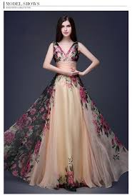 gown dress with price hot new flower pattern floral print chiffon evening dress gown