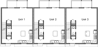 three plex floor plans triplex plans small lot house plans row house plans t 413