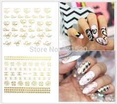 metallic nail foil wraps 3d metallic nail wraps gold nail patch stickers logo letter