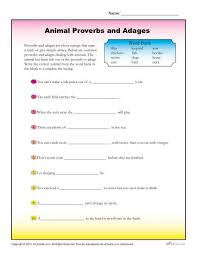 animal proverbs and adages worksheet for 4th and 5th grade