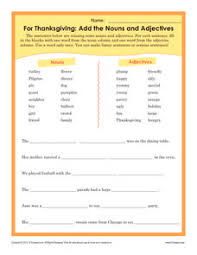 for thanksgiving add the nouns and adjectives 3rd 6th grade