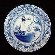 baby birth plates 1950s delft birth announcement plate with baby and stork