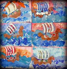 cassie stephens in the art room viking ship collages art class