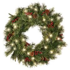 premium pre lit hyde park cordless wreath garland ace hardware