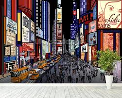 New York Wallpaper U0026 Wall Murals Wallsauce by New York Night View Of Times Square Wallpaper Wall Mural
