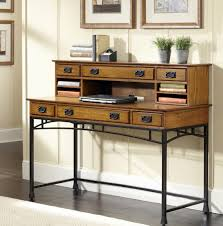 natural wood top modern writing desk with hutch and metal base