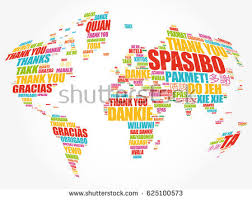 thank you many languages world map stock vector 625100573
