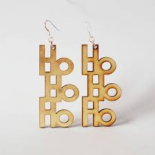 images of christmas earrings wooden christmas earrings by press send notonthehighstreet com