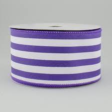purple satin ribbon 2 5 vertical stripe satin ribbon purple white 10 yards