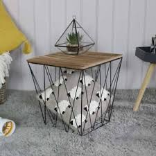 wire and wood basket side table wood metal wire square basket table storage living room occasiona