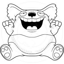 cartoon fat koala sitting black and white line art by cory