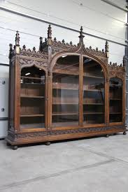 French Antique Bookcase Rare And Magnificent Monumental French Gothic Bookcase In Walnut
