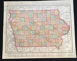 map of iowa vintage iowa map etsy