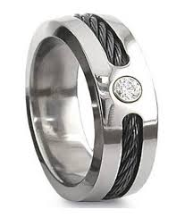 titanium mens wedding rings black cable titanium wedding ring cz