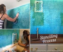 bathroom stencil ideas stencil ideas for a bathroom wall with metallic paint stenciling