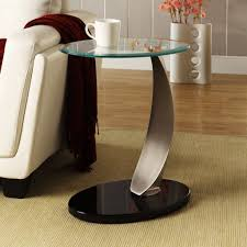 Glass End Tables For Living Room End Tables Decorating Theme Featuring Black Rounded Base And
