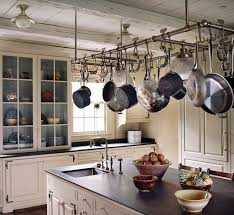 kitchen pot racks with lights painted interior of the built in hutch ceiling soapstone
