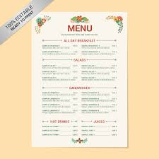 free menu template u2013 21 free word pdf documents download free