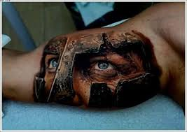 cool colored spartan warrior on arm tattoos photos