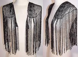 black jet beaded fringe shoulder epaulet ornamental trim cape collar