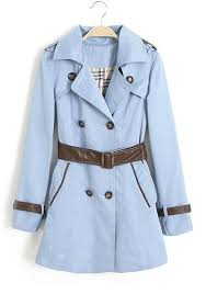 light blue trench coat light blue belt zipper imitated fur trench coat outerwears tops
