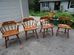 vintage ethan allen captain old tavern pub chairs 10 6031 nutmeg