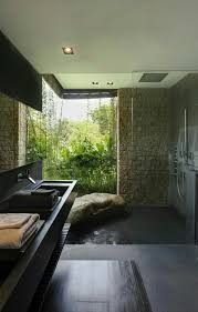 Floor Length Windows Ideas Modern Grotto Sunken Shower Boulder Bench Floor To Ceiling