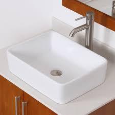 Vanity For Vessel Sink Elite Bathroom Rectangle White Ceramic Porcelain Vessel Sink