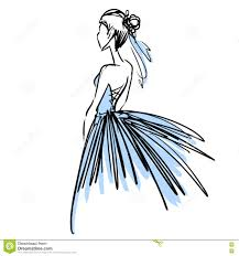 young woman in beautiful evening dress fashion sketch stock