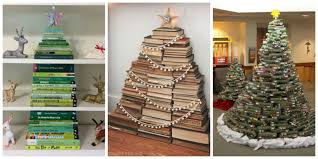 people are using their favorite books to make christmas trees