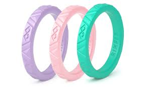 rubber wedding bands silicone stackable rings for women 3 ring set rubber wedding
