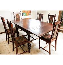 spanish revival style dining table and six chairs ebth