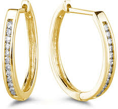 14k gold hoop earrings classic 1 4 carat diamond hoop earrings 14k yellow gold wedding