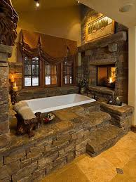 See Through Bathroom Rustic Master Bathroom With Stacked Stone Fireplace U0026 Master