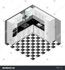 isometric modern white kitchen cupboards tiled stock vector
