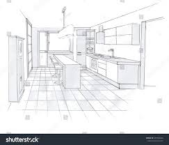 interior sketch design kitchen sketching idea stock illustration