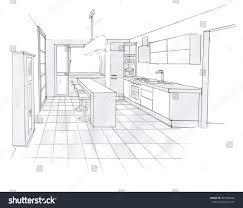 Interior Design Of Kitchen Interior Sketch Design Kitchen Sketching Idea Stock Illustration