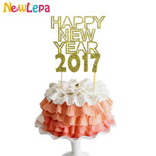 Happy New Year Cake Decorations by Aliexpress Com Buy Happy New Year 2017 Gold Paper Cupcake Topper