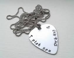 Engraved Guitar Pick Necklace Guitar Pick Necklace Etsy