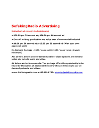 Sofa King Video by Advertising With Sofakingradio