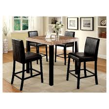 IoHomes Pc Colorful Faux Marble Top Counter Dining Table Set Wood - Black dining table with wood top