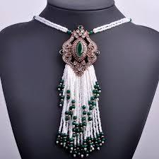 long beaded tassel necklace images Turkish royal white beads tassel necklace bohemia big long pendant jpg