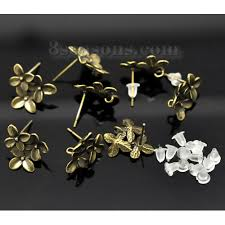 earring studs with loop wholesale copper ear post stud earrings findings flower
