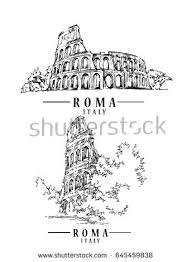 roma sketch on watercolor background vector stock vector 660239557