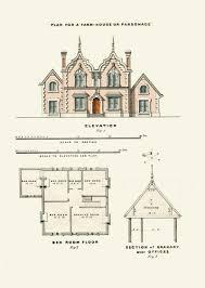 architectural print english house plans 1855 architecture art
